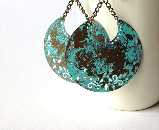 Gypsy Moon Earrings Faux Verdigris Patina Turquoise Exotic Bohemian Jewelry by TesoroDelSol, $20.00