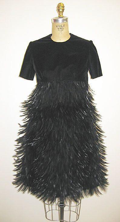 givenchy, silk and feather cocktail dress, 1968
