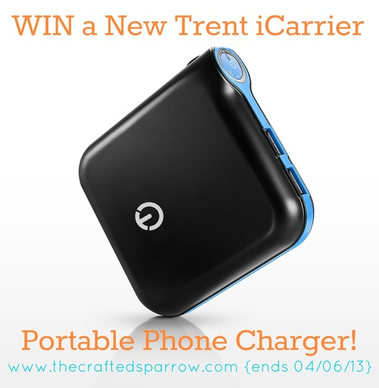 Win a New Trent iCarrier portable cell phone charger!  Perfect device to have if your a blogger! www.thecraftedspa...