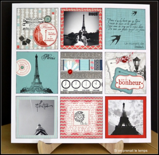 #papercraft #scrapbook #layout #Travel Paris - i like the 3 by 3, the mini square page on a page