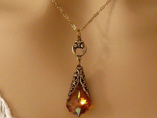 Orange Wedding Jewelry: Romantic Victorian Gold Filigree and Crystal Orange Bridesmaids Necklace - Bridal Wedding Jewelry Bridesmaids Gift. $38.50, via Etsy.