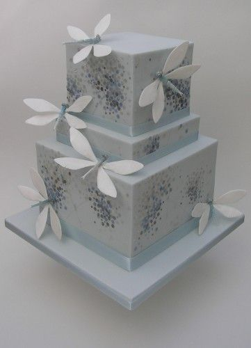 Wedding cakes in the palest of blue