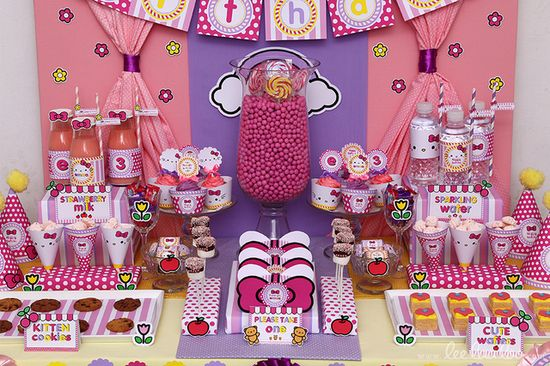 Sweet Hello Kitty Party.  See more party ideas at CatchMyParty.com!  #hellokitty #partyideas