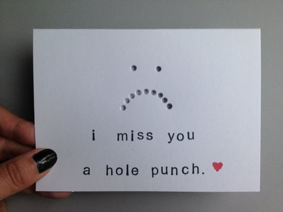 I Miss You Card I Miss You A Hole Punch White Black by CraftGoblin