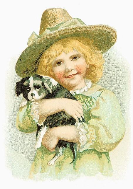 Vintage boy and dog