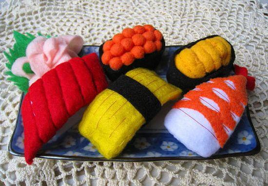 eco friendly felt food Sushi set for play kitchen by CreationByM, $25.00