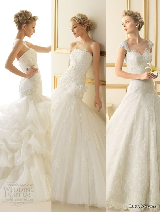 Our top 3 picks from Luna Novias 2013 Wedding Dress Collection.    See the rest featured at  weddinginspirasi....