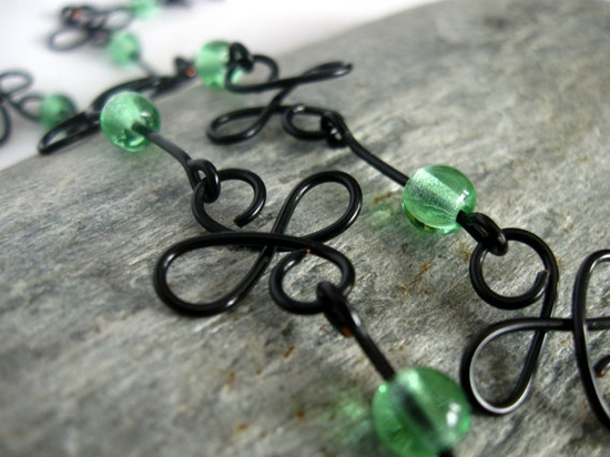 Four Leaf Clover Black Wire Jewelry Necklace with by SolasCandles, $29.00
