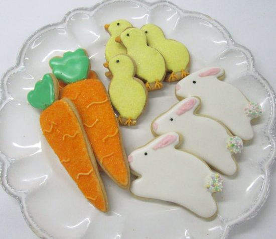 Easter cookies, carrots, chicks, rabbits