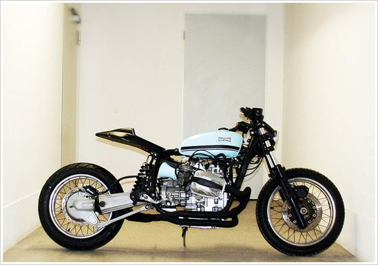 A very unusual (and successful, I might add) take on the classic BMW boxer motorcycle.