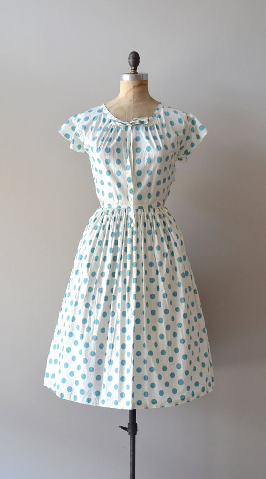 vintage 50s dress / polka dot 1950s dress.