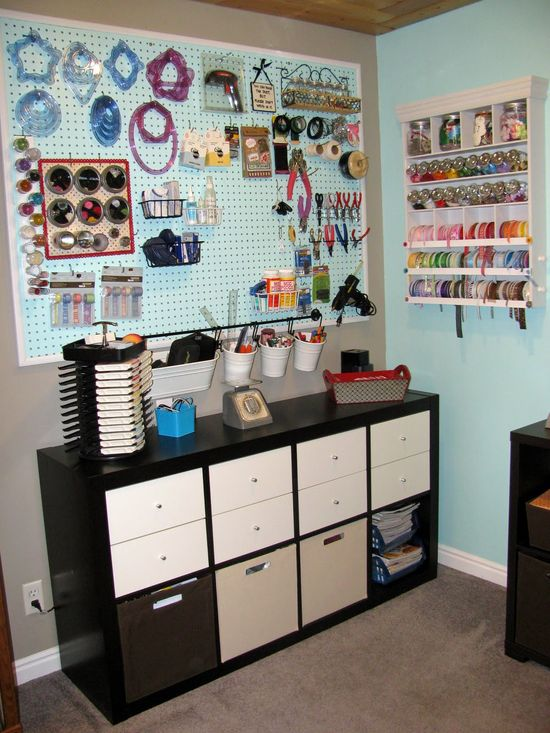 Organized scrapbooking space.  everything right at hand!
