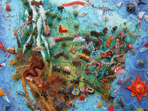 Sara Drake - 3D Map of USA, made for private clients - illustrating events, people and places in their lives. Paper, balsa wood and mixed media.
