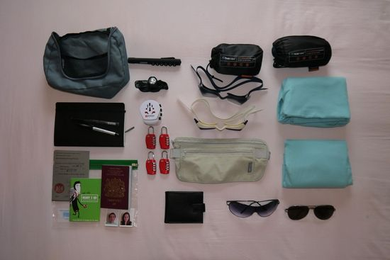 Travel accessories - micro towels, sleep sacks, combination locks, Skross travel adapter, sunglasses, goggles, torches, documents