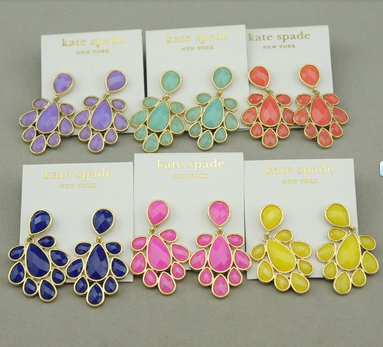 Kate Spade Inspired Chandelier Earrings in blush pink, Beaded earrings, Flower earrings. $12.00, via Etsy.