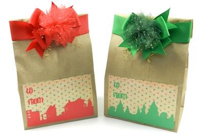 giant size brown paper lunch bags to make these fun gift bags.  Customize your handmade gift bags using cardstock, paper punches, ribbon, and Bowdabra bows.