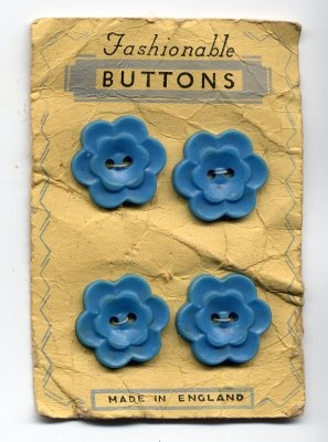 blue antique card of buttons