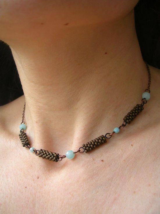 beaded beads handwoven with japanese seed beads in dark copper, amazonite beads and anticated copper chain and clasp