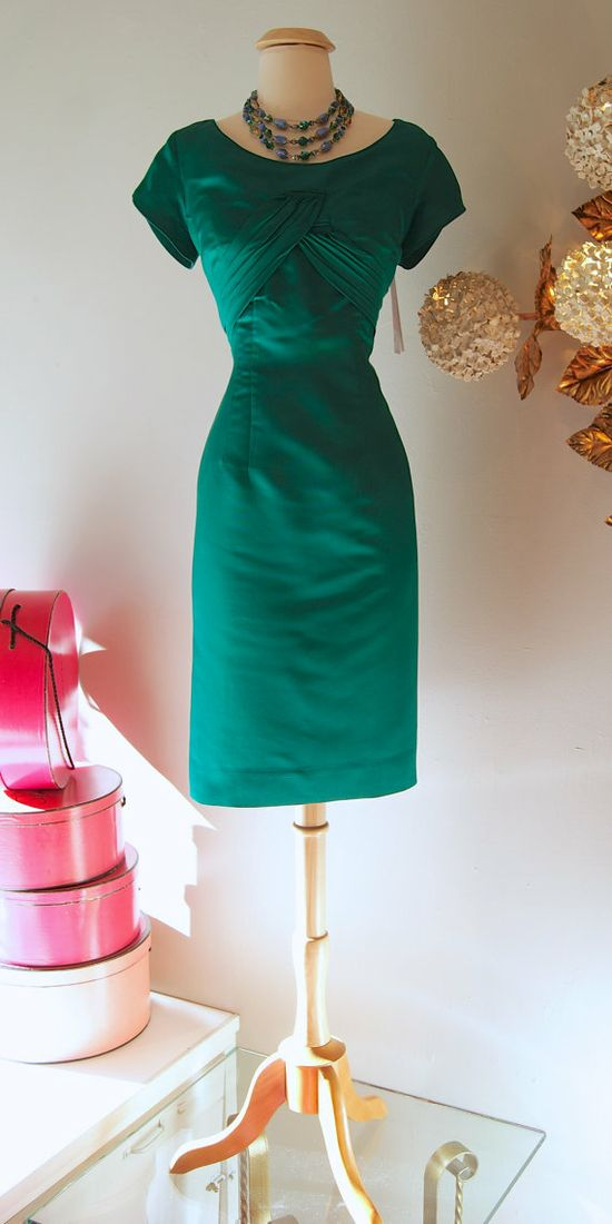 50s Dress // Vintage 50s Emerald Green Sexy by xtabayvintage, $248.00