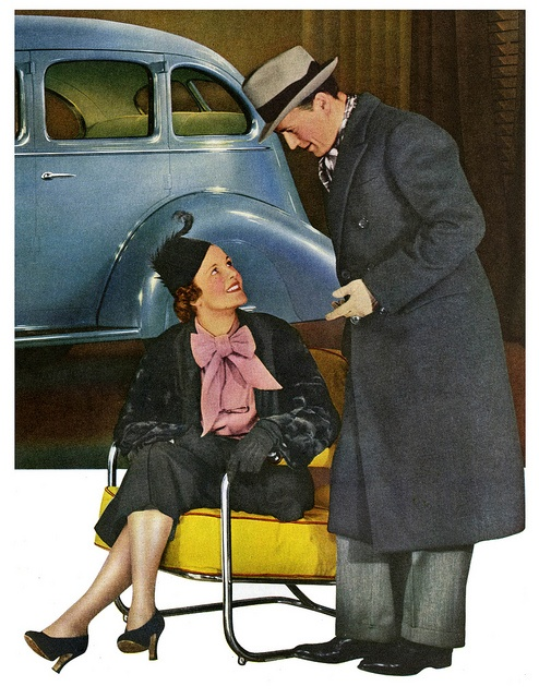 A couple from 1936 shopping for a Hudson. #vintage #car #ads #1930s