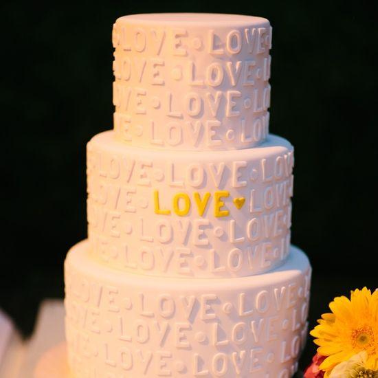 White, LOVE Wedding Cake // Heather Kincaid Photography //  Cake: Vanilla Bake Shop
