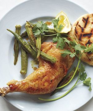 Curry-Roasted Chicken and Okra recipe from realsimple.com #myplate #protein #vegetables