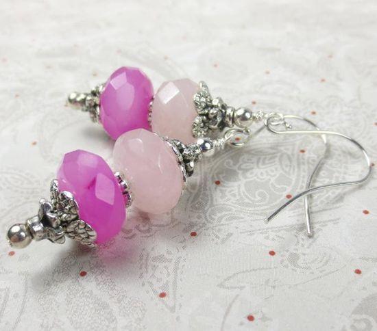 Candy Jade rondels in hot pink and light pink earrings dangle earrings  pink fantasy jade earrings  breast cancer survivor on Handmade Artists' Shop
