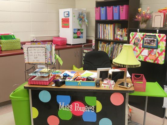 Teacher Desk Ideas- I like the M-F bins on the top shelf of bookcase