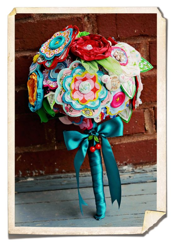Fabric Flowers and Vintage Brooch Bouquet