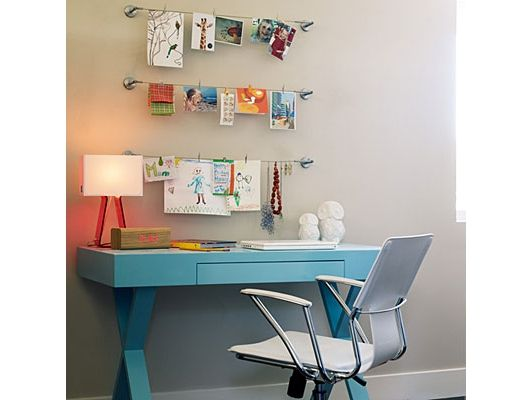 home office idea - Home and Garden Design Idea's- wall piece for hanging project lists or ideas
