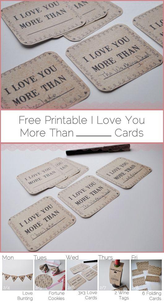 Free I Love You More Than Mini Cards