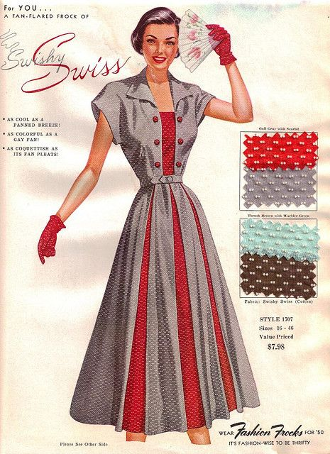 "A c. 1950 Fashion Frocks Salesman Sample Card  ""Swishy Swiss"" pattern. #vintage #1950s #fashion #dress #fabric"