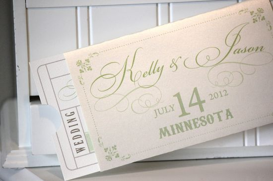 Wedding Invitations Ticket Invitations Vintage by lemonseedandco