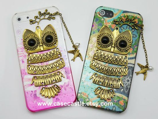 SALE - Owl iphone case,Color Owl on the branch with bird and pearl ,floral case for iPhone 4 Case, iPhone 4s Cover, iphone 5 case cover