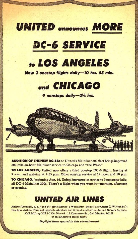 Vintage United Air Lines Ad - 1951