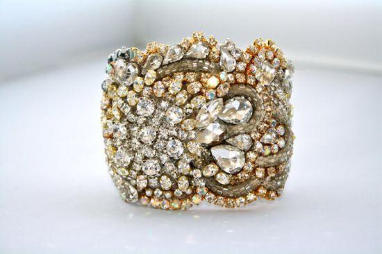 Holy moly. One of a kind jeweled bracelet by DolorisPetunia on etsy.