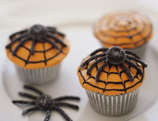 Eerie, delightful Spiderweb Cupcakes. #cooking #dessert #food #baking #autumn #fall #Thanksgiving #cupcakes #cake #spiders #cobwebs
