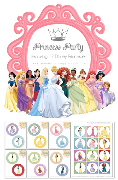 Disney Princess Party Printables. This website has individual princess printables too