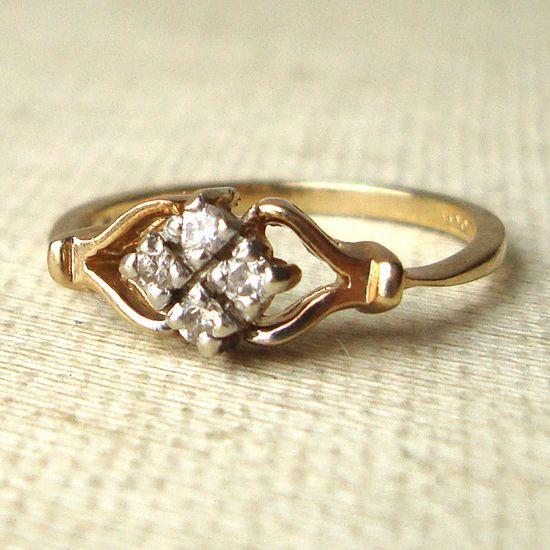 Vintage Diamond Ring, Art Deco Style Engagement Ring, 9k Gold and Diamond Engagement