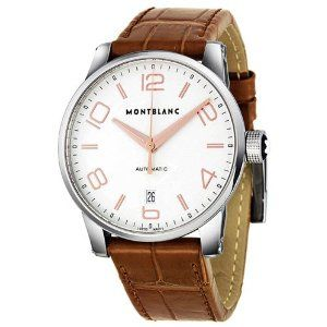 Montblanc Timewalker Automatic Silver Dial Brown Leather Mens Watch 105813
