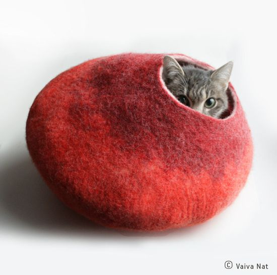 Warm Orange Red Bubble - Hand Felted Wool Cat Bed / Vessel - Crisp Contemporary Design - READY TO SHIP