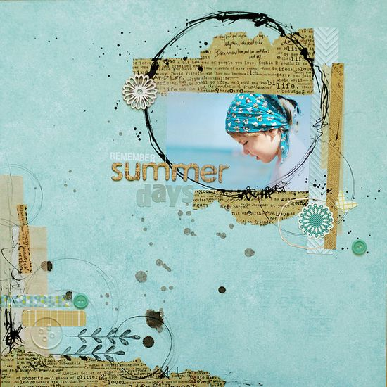 remember summer days scrapbook layout by ania-maria {at home} on flickr #blue