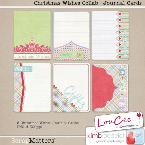 Free Christmas Wishes Journal Cards