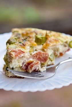 Counting carbs and calories with the Crustless Asparagus Quiche.