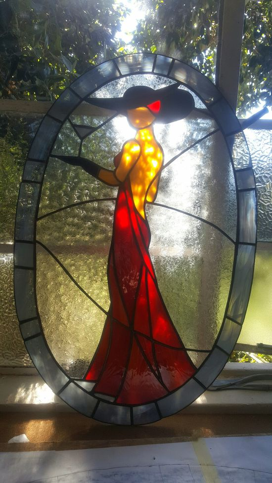 Lady in Red Leadglas