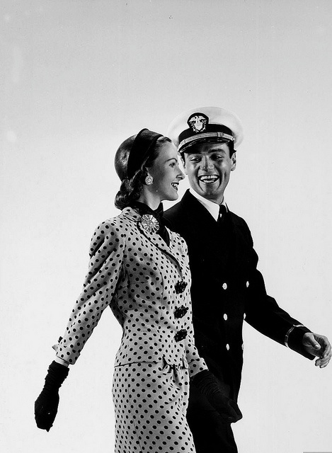 Looking completely shipshape in a stylish polka dot dress suit, 1943. #vintage #1940s #fashion #suit