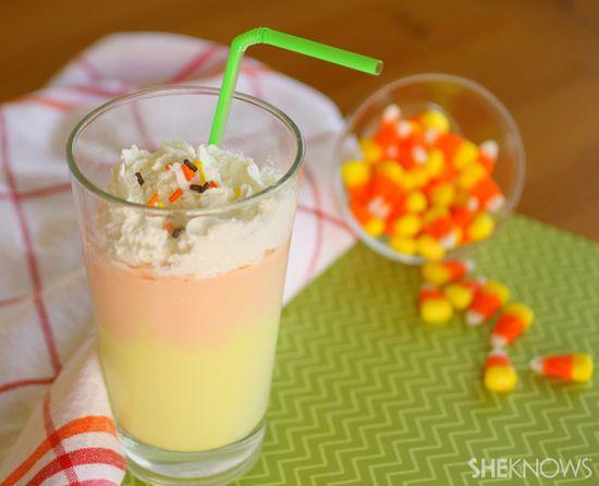"Creamy candy corn ""milkshake"""