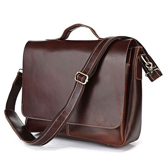"Handmade Leather Briefcase / Messenger / 14"" 15"" Laptop 13"" 15"" MacBook Bag"