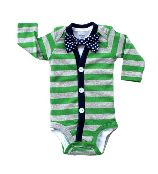 Cardigan Onesie and Bow Tie Onesie Set  Green with by HaddonCo, $40.00