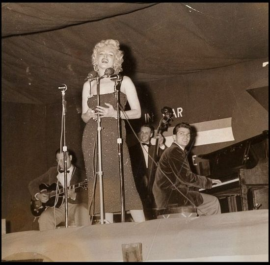 Marilyn Monroe performs for the troops during the aftermath of the Korean war in 1954.